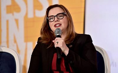 Amber Tamblyn speaks onstage at EMILY's List Pre-Oscars Brunch and Panel on February 27, 2018 in Los Angeles, California.  (Alberto E. Rodriguez/Getty Images/AFP)