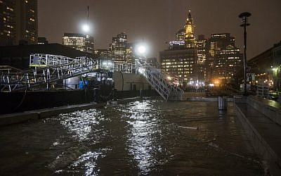 BOSTON, MA - MARCH 02: Flooding along Long Wharf as high tide approaches during a large coastal storm on March 2, 2018 in Boston, Massachusetts. (Scott Eisen/Getty Images/AFP)