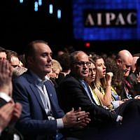 Attendees listen to US Vice President Mike Pence address the American Israel Public Affairs Committee's annual policy conference in Washington, DC, on March 5, 2018. (Chip Somodevilla/Getty Images/AFP)