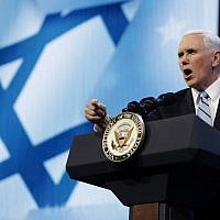 File: US Vice President Mike Pence addresses the AIPAC annual policy conference at the Washington Convention Center, March 5, 2018. (Chip Somodevilla/Getty Images/AFP)