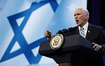 US Vice President Mike Pence address the AIPAC (the American Israel Public Affairs Committee) annual policy conference at the Washington Convention Center, March 5, 2018 (Chip Somodevilla/Getty Images/AFP)