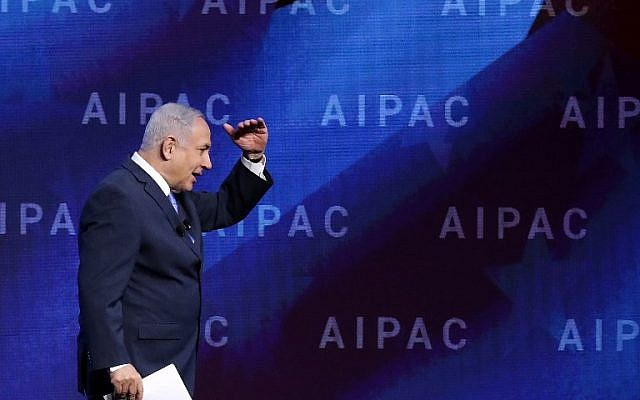 Israeli Prime Minister Benjamin Netanyahu addresses the American Israel Public Affairs Committee's annual policy conference at the Washington Convention Center March 6, 2018 in Washington, DC. (Chip Somodevilla/Getty Images/AFP)