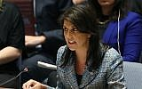 United States Ambassador to the United Nations Nikki Haley speaks at a Security Council meeting on the the situation in Syria at the United Nations, on March 12, 2018, in New York City. (Spencer Platt/Getty Images/AFP)