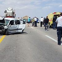 Scene of a car accident on highway 90 near the Dead Sea on March 16, 2018. (Magen David Adom)