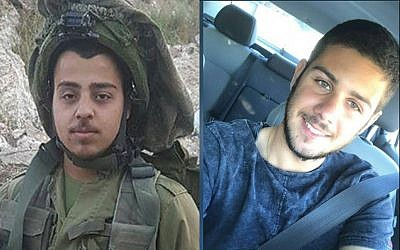 Sgt. Netanel Kahalani, left, and Cpt. Ziv Daos, right, are identified as the soldiers killed in an apparent car-ramming terror attack on March 16, 2018. (Courtesy)