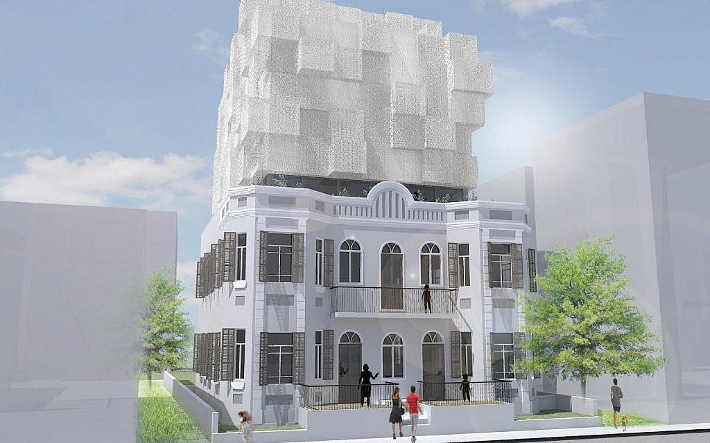 10 Brenner Street in Tel Aviv, where Bar Orian Architects will restore another Eclectic style building and top it with a modern, airy structure (Courtesy Bar Orian Architects)