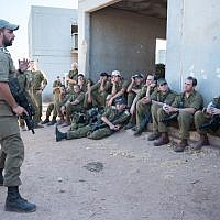 Illustrative. Israeli officers listen to a commander during an exercise in northern Israel on September 12, 2017. (Israel Defense Forces/Flickr)