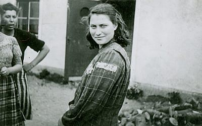 Genia Dvorkin, wearing her prison garb from the labor camps in Estonia and Germany. (Yad Vashem Artifacts Collection)