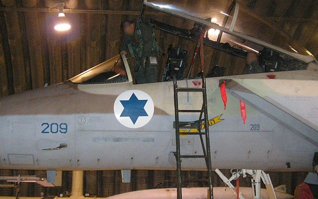 The pilot of an F-15I fighter jet, from the Israeli Air Force's 69th Squadron, gets into his airplane ahead of an operation to bomb a Syrian nuclear reactor in Deir Ezzor on September 5, 2007. (Israel Defense Forces)