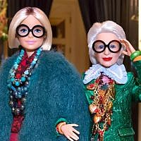 A Barbie doll in the image of Iris Apfel, right. (Courtesy of Mattel Inc. via JTA)