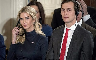 In this photo taken Friday, March 17, 2017, Ivanka Trump, the daughter of US President Donald Trump, and her husband Jared Kushner, senior adviser to President Donald Trump, attend a joint news conference with the president and German Chancellor Angela Merkel in the East Room of the White House in Washington. (AP Photo/Andrew Harnik)