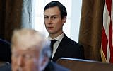 In this November 1, 2017 file photo, White House senior adviser Jared Kushner listens as US President Donald Trump speaks during a cabinet meeting at the White House in Washington. (AP Photo/Evan Vucci, File)