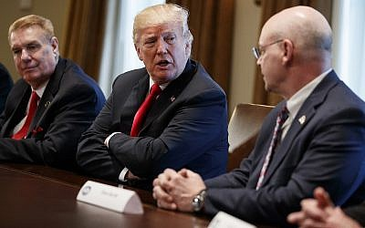 President Donald Trump speaks during a meeting with steel and aluminum executives in the Cabinet Room of the White House on March 1, 2018.. (AP Photo/Evan Vucci)