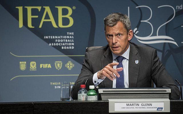 Martin Glenn, chief executive of the English Football Association, speaks during the press conference of the 132nd IFAB Annual General Meeting at the Home of FIFA in Zurich, Switzerland, Saturday, March 3, 2018. (Ennio Leanza/Keystone via AP)
