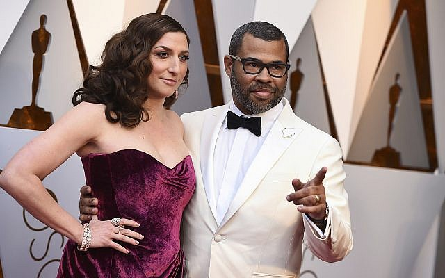 Chelsea Peretti, left, and Jordan Peele arrive at the Oscars on Sunday, March 4, 2018, at the Dolby Theatre in Los Angeles. (Jordan Strauss/Invision/AP)