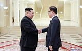In this photo from March 5, 2018, provided by the North Korean government, North Korean leader Kim Jong Un, left, shakes hands with South Korean National Security Director Chung Eui-yong in Pyongyang, North Korea. (Korean Central News Agency/Korea News Service via AP)