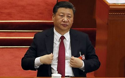 Chinese President Xi Jinping attends a plenary session of China's National People's Congress at the Great Hall of the People in Beijing Friday, March 9, 2018. (AP Photo/Aijaz Rahi)