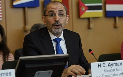 Jordan's Foreign Minister Ayman Safadi delivers his speech during a United Nations Relief and Works Agency for Palestine Refugees in the Near East, UNRWA, conference, in Rome, March 15, 2018. (AP Photo/Andrew Medichini)