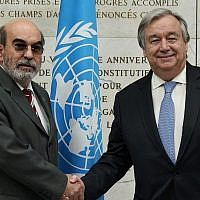 FAO, United Nations Food and Agriculture Oranization, Director General Graziano Da Silva, left, shakes hands with UN Secretary General Antonio Guterres as he arrives to attend a United Nations Relief and Works Agency for Palestine Refugees in the Near East, UNRWA, conference, in Rome, March 15, 2018. (AP Photo/Andrew Medichini)