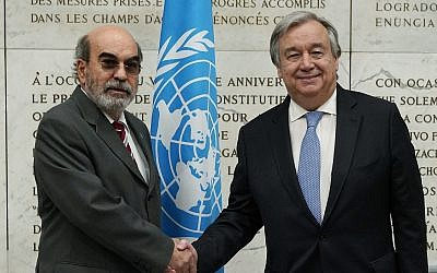 FAO, United Nations Food and Agriculture Organization, Director General Graziano Da Silva, left, shakes hands with UN Secretary General Antonio Guterres as he arrives to attend a United Nations Relief and Works Agency for Palestine Refugees in the Near East, UNRWA, conference, in Rome, March 15, 2018. (AP Photo/Andrew Medichini)