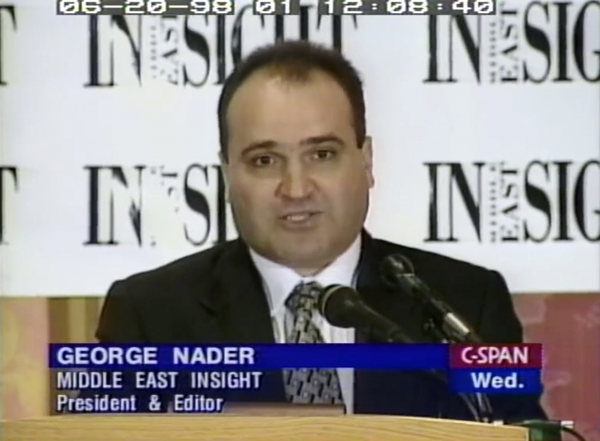 This 1998 frame from video provided by C-SPAN shows George Nader president and editor of Middle East Insight