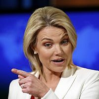State Department spokeswoman Heather Nauert speaks during a briefing at the State Department in Washington on August 9, 2017. (AP Photo/Alex Brandon, File)