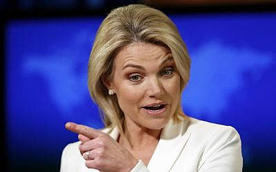 Then-State Department spokeswoman Heather Nauert speaks during a briefing at the State Department in Washington on August 9, 2017. (AP Photo/Alex Brandon, File)