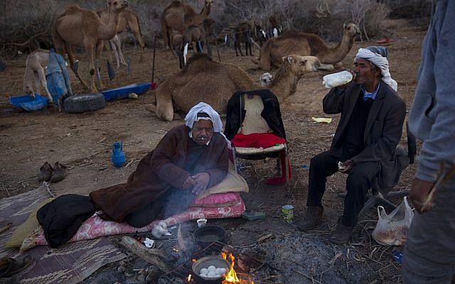 Beduin camel owner Ali El Guran, left, and his camel herder Salem Rashaideh, have their breakfast at their camp near Kibbutz Kalya, Dead Sea, February 10, 2018. (AP Photo/Oded Balilty)