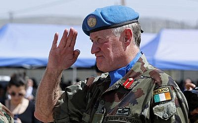 Head of Mission and Force Commander of the United Nations Interim Force in Lebanon (UNIFIL), Maj. Gen. Michael Beary of Ireland, during a ceremony to mark the 40th anniversary of UNIFIL's peacekeeping presence in southern Lebanon, in Lebanon, March 19, 2018. (AP Photo/Hassan Ammar)