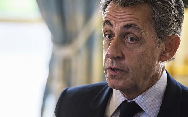 French then-president Nicolas Sarkozy attends newly named member of the Constitutional Council Dominique Lottin's oath-taking ceremony at the Elysee Palace, in Paris,  November 6, 2017. (Christophe Petit Tesson/ AP)