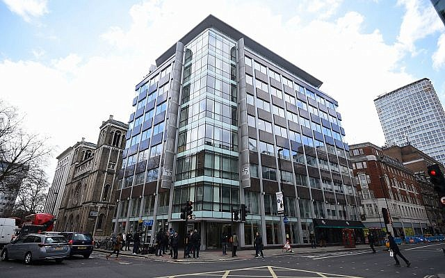 The offices of Cambridge Analytica (CA) in central London, March 20, 2018. (Kirsty O'Connor/PA via AP)