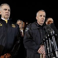 Interim Austin Police Chief Brian Manley, right, stands with other members of law enforcement as he briefs the media, Wednesday, March 21, 2018, in the Austin suburb of Round Rock, Texas. (AP Photo/Eric Gay)