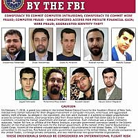 This image released by the FBI is the wanted posted for 9 Iranians who took part in a government-sponsored hacking scheme that pilfered sensitive information from hundreds of universities, private companies and government agencies. (FBI via AP)