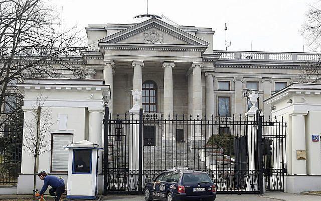 The Russian Embassy in Warsaw, Poland, March 26, 2018 (AP Photo/Czarek Sokolowski)