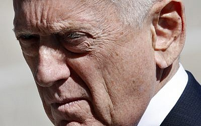 US Secretary of Defense Jim Mattis awaits the arrival of Indonesia's Minister of Foreign Affairs Retno Marsudi, March 26, 2018, at the Pentagon. (AP Photo/Jacquelyn Martin)