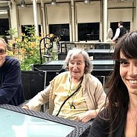 Mireille Knoll, center, with her son Daniel and granddaughter Jessica. (Daniel Knoll via AP)