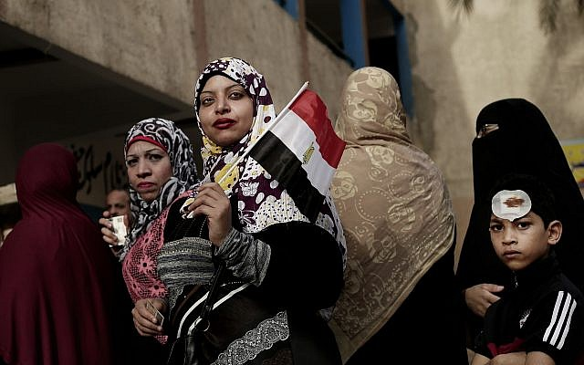 Voters at a polling station during the presidential in Cairo, Egypt, March 27, 2018.  (AP Photo/Nariman El-Mofty)