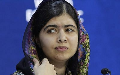 In this January 25, 2018, file photo, Nobel laureate Malala Yousafzai attends an annual meeting of the World Economic Forum in Davos, Switzerland. (AP Photo/Markus Schreiber, File)