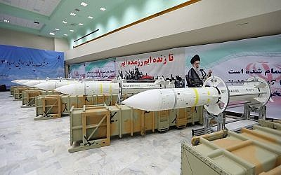 Illustrative. Sayyad-3 air defense missiles during inauguration of its production line at an undisclosed location, Iran, according to official information released, July 22, 2017. (Official website of the Iranian Defense Ministry via AP)
