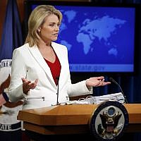 State Department spokeswoman Heather Nauert speaks during a briefing at the State Department in Washington, August 9, 2017.  (AP Photo/Alex Brandon)