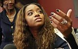 In this Tuesday Oct. 17, 2017, file photo, activist Tamika Mallory speaks at a news conference in New York (AP Photo/Bebeto Matthews, File)