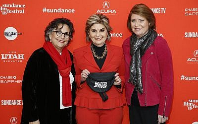 Attorney Gloria Allred, center, and directors Roberta Grossman, left, and Sophie Sartain, right, pose at the premiere of 'Seeing Allred' during the 2018 Sundance Film Festival. (Photo by Danny Moloshok/Invision/AP)
