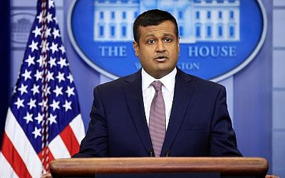 White House deputy press secretary Raj Shah talks to reporters during the daily press briefing in the Brady press briefing room at the White House, in Washington, February 8, 2018. (AP Photo/Manuel Balce Ceneta)