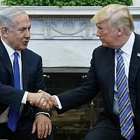 US President Donald Trump meets with Israeli Prime Minister Benjamin Netanyahu in the Oval Office of the White House, March 5, 2018, in Washington. (AP Photo/Evan Vucci)