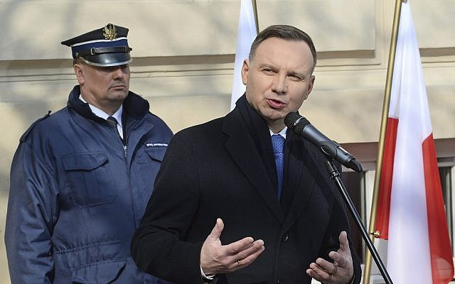 Polish President Andrzej Duda speaks during ceremonies marking the 50th anniversary of student protests that were exploited by the communists to purge Jews from Poland, at the Warsaw University in Warsaw, Poland, Thursday, March 8, 2018 (AP Photo/Alik Keplicz)