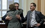 In this April 30, 2015 file photo, state Sen. Bob Hertzberg, center, gives Sen. Lois Wolk, a hug as Sen. Bob Wieckowski, looks on at the Capitol in Sacramento, Calif. (AP Photo/Rich Pedroncelli)
