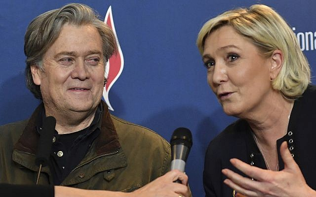 National Front party leader Marine Le Pen, right, and former White House strategist Steve Bannon hold a press conference at the party congress in the northern French city of Lille, on March 10, 2018 (AP Photo)