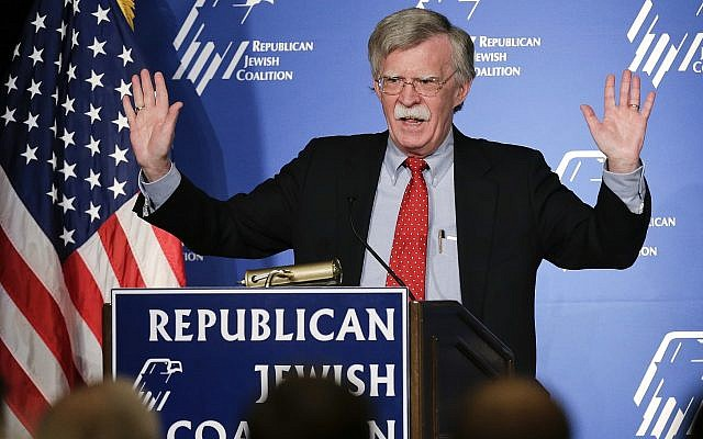 Former U.S. ambassador to the U.N. John Bolton speaks at the Republican Jewish Coalition in Las Vegas on March 29, 2014. President Donald Trump's pick of Bolton for his next national security adviser stirred up the same burning question Friday in Washington as in anxious foreign capitals: Just how much will his hawkish, confrontational approach rub off on Trump? (AP Photo/Julie Jacobson, File)