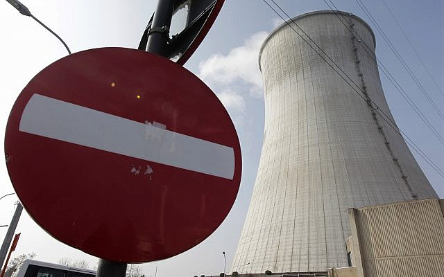Illustrative: Steam is emitted from the cooling tower at the nuclear power plant in Tihange, southeast of Brussels on March 16, 2011. (AP Photo/Yves Logghe, File)