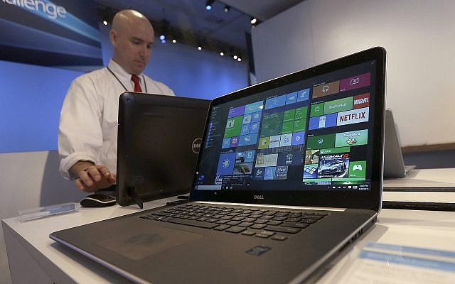 Illutrative: A laptop computer running Windows 10 on display at the Microsoft Build conference in San Francisco. (AP Photo/Jeff Chiu, File)